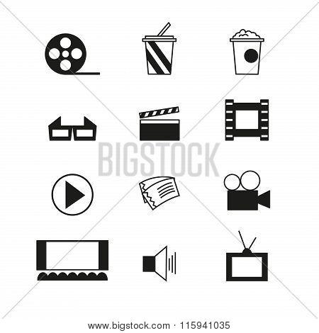 Cinema Sign And Symbol Vector Set
