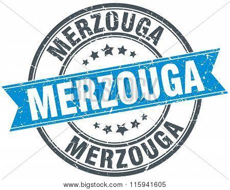 Merzouga blue round grunge vintage ribbon stamp
