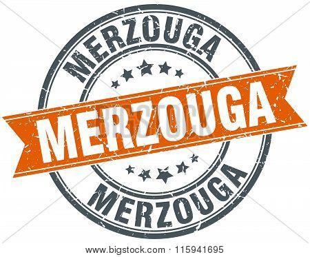 Merzouga orange round grunge vintage ribbon stamp