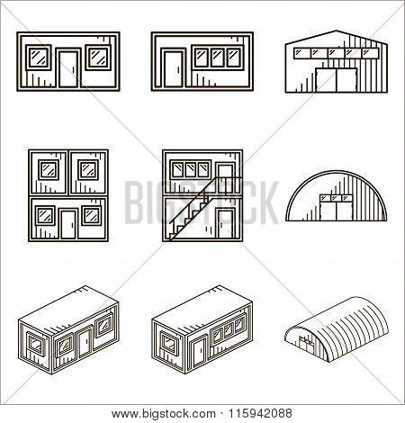 Set of black line vector icons for modular buildings on white ba