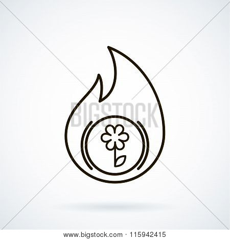 Black flat line vector icon refractories on gray background.