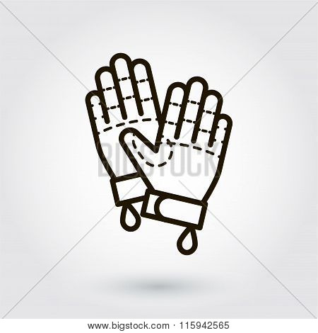 Black flat line vector icon of gloves on white