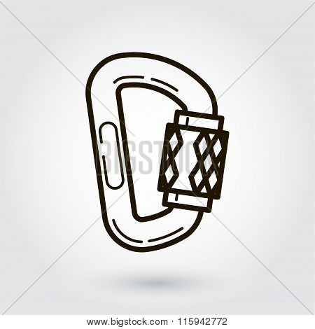 Black flat line vector icon of a carbine on white
