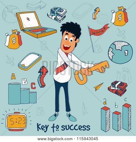 Illustration of young Businessman holding key to succes with colorful infographic elements for Business concept.