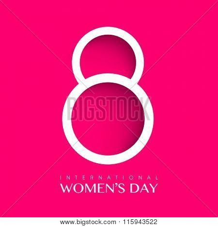 Elegant greeting card design with glossy text 8 for International Women's Day celebration.