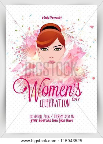 Creative Template, Banner or Flyer design with illustration of young beautiful girl for Happy Women's Day celebration.