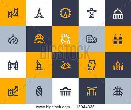 World famous Landmarks icons. Flat style