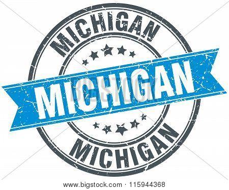 Michigan blue round grunge vintage ribbon stamp
