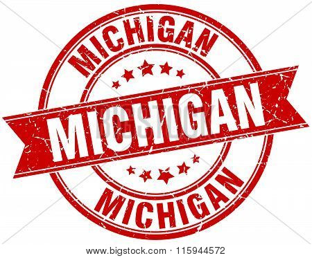 Michigan red round grunge vintage ribbon stamp