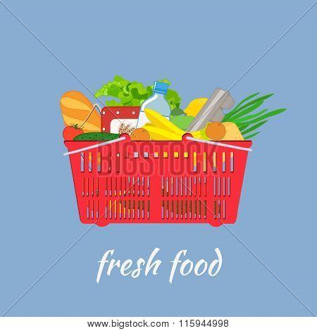 Supermarket Basket With Food