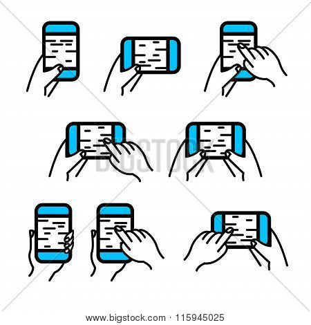 Phone In Hand Icon Vector Set. Hand Gestures On Smartphone Touchscreen.