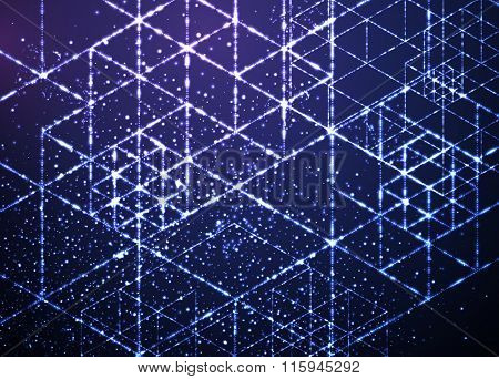 Matrix of Futuristic Glowing Particles and Stars. Abstract Space Background for Science and Technology Design
