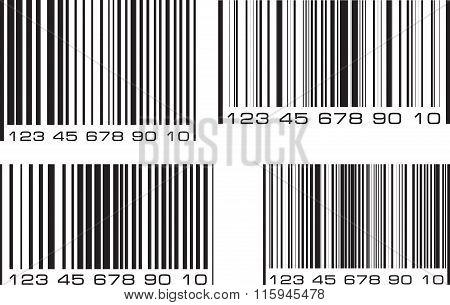 Set Of 4 Bar Code Labels. Vector Illustration.
