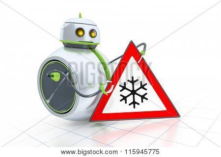 A sweet little robot and a road sign sleekness