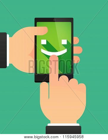 Hands Using A Phone Showing A Smile Text Face