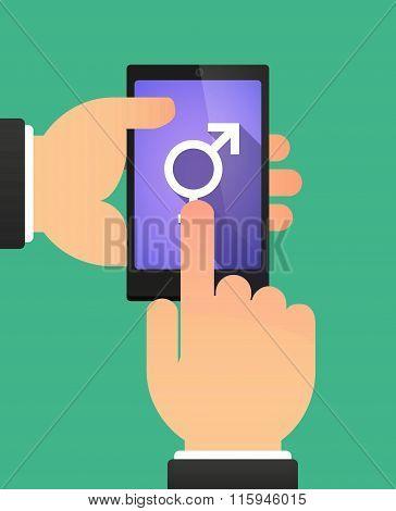 Hands Using A Phone Showing A Bigender Symbol