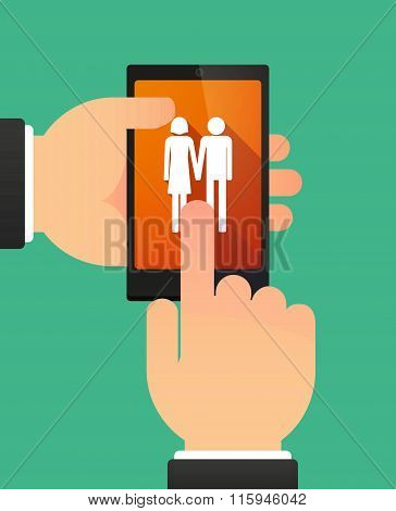 Hands Using A Phone Showing A Heterosexual Couple Pictogram