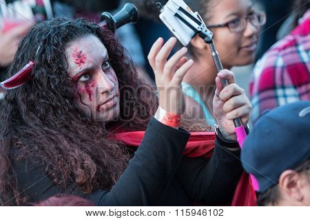 Bloody Woman Takes Selfie At Georgia Zombie Festival