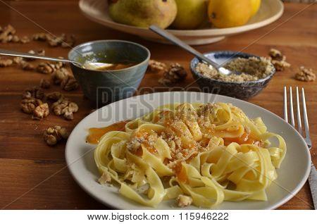 Walnut Noodles With Jam Landscape Close-up