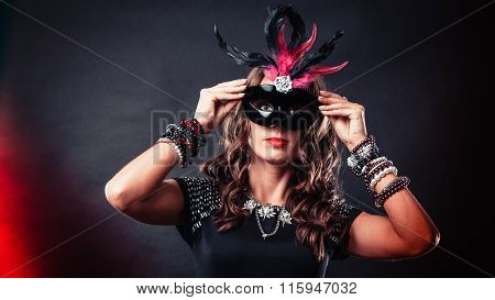 Woman With Carnival Venetian Mask On Dark