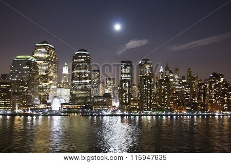 Financial District In New York At Night
