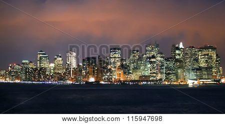 Financial District Panorama At Night