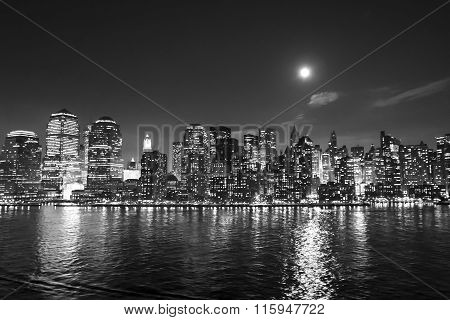 Financial District Skyscrapers Bw