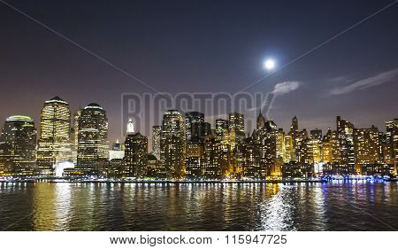 Financial District Skyscrapers At Night
