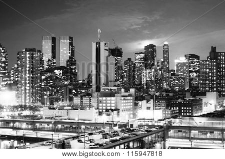 Midtown Manhattan At Sunset Bw