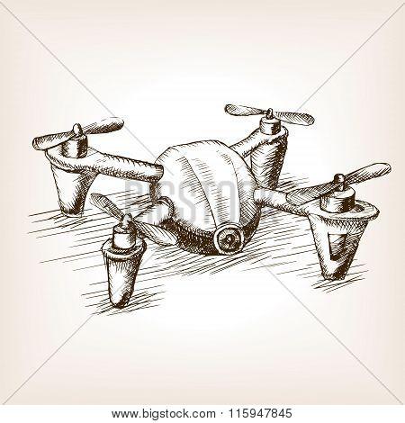 Quadrocopter drone sketch vector illustration