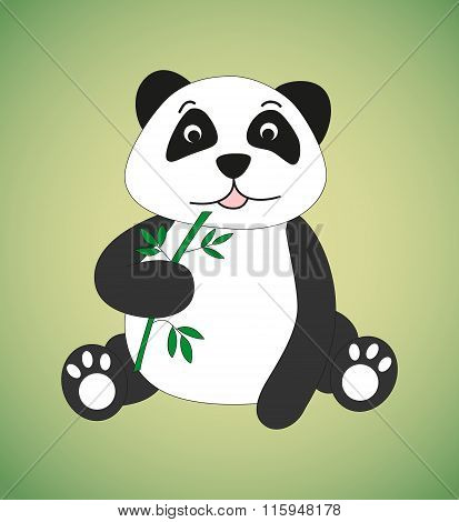 Panda With Spring Of Bamboo.