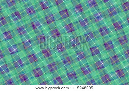 Green And Purple Computer Generated Abstract Plaid Pattern