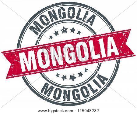 Mongolia red round grunge vintage ribbon stamp