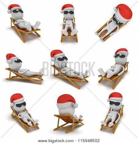 3D Santa Claus Having A Rest. Set