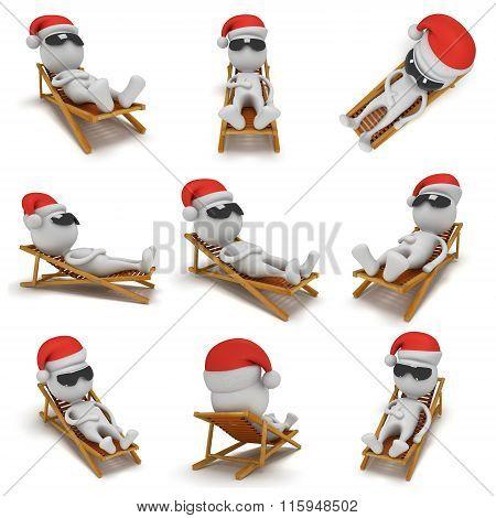 3D Santa Claus Having A Rest. Set