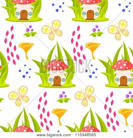 Spring Forest Mushroom House Seamless Pattern.