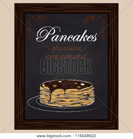 Pancakes With Chocolate And Almond On The Plate