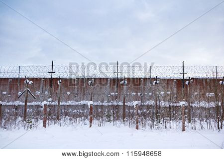 Old Soviet Union prison wall in Estonia.