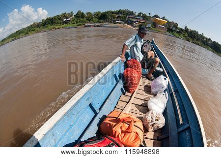 The Boat On The Mekong At The Crossing Between Thailand And Laos