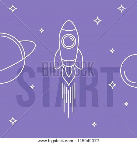Rocket Space Vector Illustration. Linear Design. Start Up Concept.