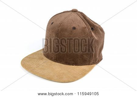 Brown Corrugated Snapback Cap, Flat Brim