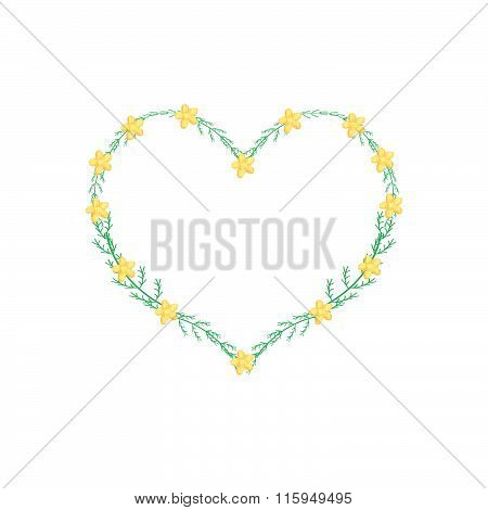 Yellow Yarrow Flowers In A Heart Shape Frame