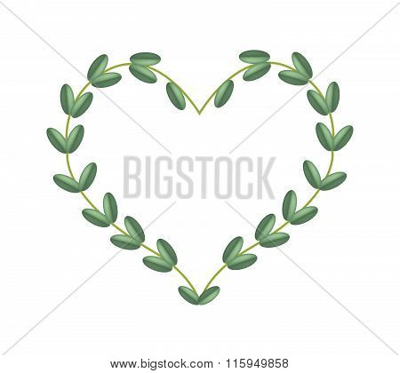 Green Vine Leaves In Beautiful Heart Shape Frame