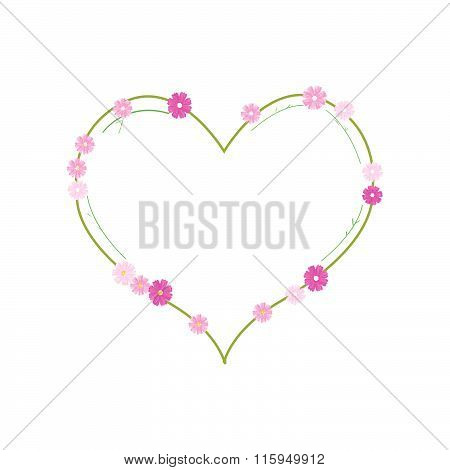 Pink Cosmos Flowers In A Heart Shape