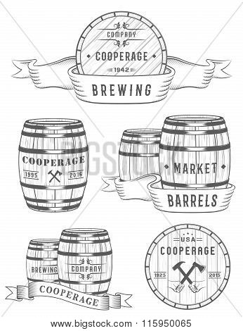 Set Wooden Casks Badges And Cooperage Logo