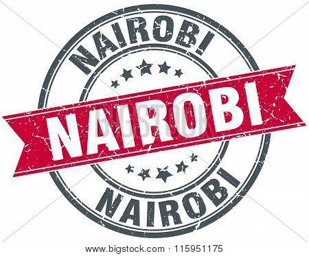 Nairobi red round grunge vintage ribbon stamp