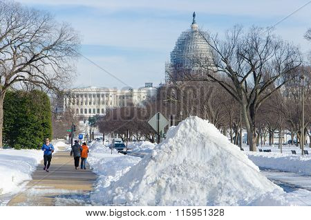 Washington Dc, United States - January 25, 2016. Capitol Streets Covered With Show After Huge Snow S