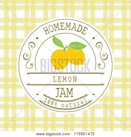 Jam Label Design Template. For Lemon Dessert Product With Hand Drawn Sketched Fruit And Background.