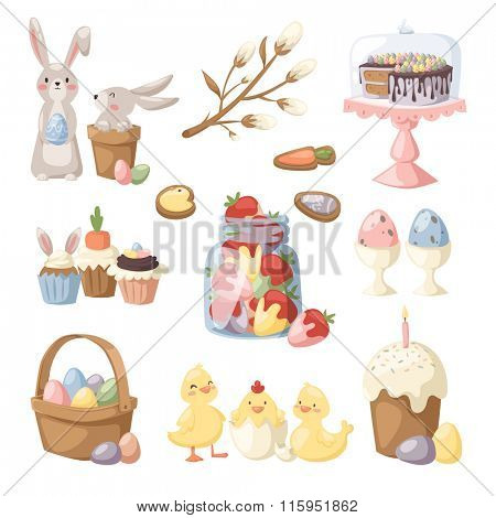 Easter holiday vector illustration. Eggs basket, rabbit bunny kids, chiken yellow baby and holiday sweets food. Easter sign and symbols. Tradional Easter vector illustration