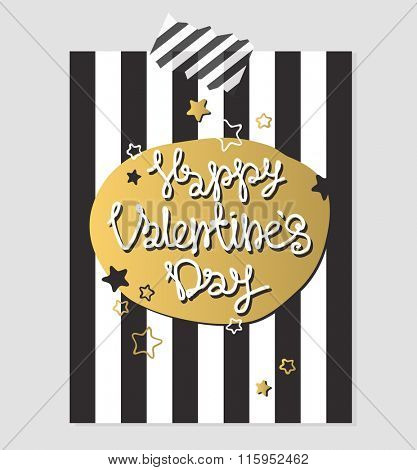Happy Valentines Day gold and black greeting card vector illustration. Valentine greeting card design. Valentine Day Layout design illustration. Love, romance. Red colors hearts and vintage